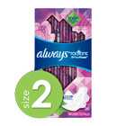 Always Radiant Size 2 Heavy Flow Pads with FlexFoam, Light Clean Scent
